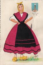 Spain Galicia Silk Folk Costume Embroidered Postcard Espana Retro Lady Women