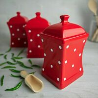 Handmade Red and White Polka Dot Ceramic Canister Set, Tea Coffee Sugar Jars