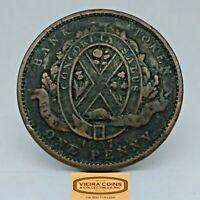 1837 Province Du Bas Canada One Penny Bank Token - #C18384