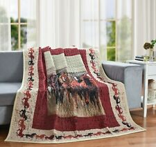 "QUILT THROW BLANKET WILD & FREE HORSE 50"" x 60"""