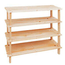Wooden Shoes Rack Bookcase SLATTED Shelf Storage Shelves Organisers 4 Tiers 75cm