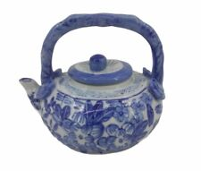 More details for vintage chinese blue and white porcelain hand painted china teapot floral design
