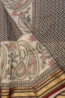 Vintage Indian Pure Cotton Saree Antique Printed Sari Traditional Textile Sarong