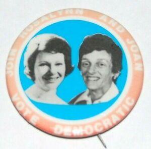 '76 ROSALYNN CARTER JOAN MONDALE rosalyn jimmy campaign pinback button political