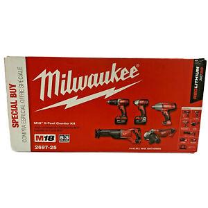 Milwaukee 5-Piece Combo Tool Kit M18 18-Volt Lithium-Ion Cordless 2697-25