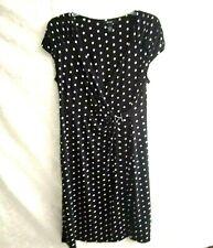 Alfani women wrap dress size M black & white polka dots vee neck cape sleeve pre
