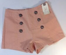 NEW LOST FOR HER Shorts Size 4 / 27 Coral Peach Casual Dress Button Front Pants