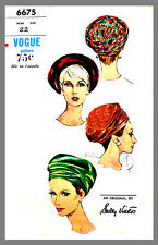 Hat Vogue Designer Sally Victor Hat Beret Fabric material sewing pattern # 6675