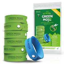 Green Mojo Natural Mosquito Repellent Bracelets 6 Green 1 Blue DEET-Free Safe