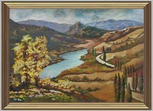 ARTE NAIF autunno laghetto di montagna olio tavola ENRICO COPETTA COEN 1925-89