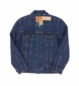 NEW Levi's Strauss Trucker Jacket Denim Jean Mens Dark Blue Stonewash Red Tab