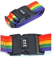 Multi Coloured Adjustable Combination Luggage Suitcase Strap / Belt UK