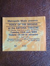 Voice of the Beehive concert ticket, Astoria Theatre, London, July 1988