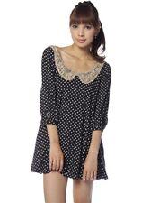Bonica Dot Womens Black/White Polka Dot One Piece Top Sequin Collar