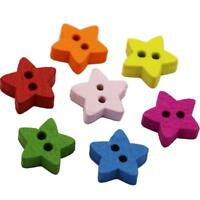 100pcs 2 Holes Lovely Wood Wooden Buttons Star Craft Buttons for Sewing 13mm
