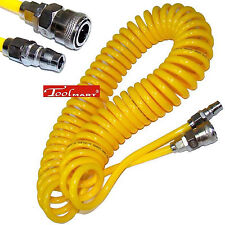 7.5m 25ft Recoil Air Hose Re Coil Spring Ends Pneumatic Compressor Tools