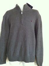 Polo Ralph Lauren Sweater Gray 1/2 Zip Cotton Burgundy Logo Size XXL NWT