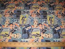 "Love Funky Retro Design 2 Way Stretch Poly Lycra Fabric 58"" W BTY"
