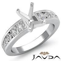 Diamond Engagement Emerald Semi Mount Ring Channel Setting 14k White Gold 0.7Ct