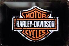 PLAQUE METAL  vintage HARLEY DAVIDSON logo  20 x 30 cm
