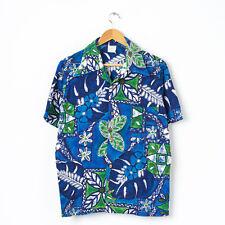 Vintage Herren Hawaiihemd Blau Gr L Large Oldschool Kurzarm Gemustert Hawaii