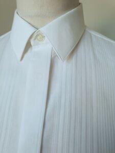Vintage 1980s Double Cuff Shirt in White Satin Stripe PolyCotton *15/M* TJ97