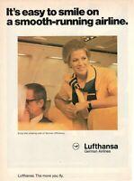 1977 Original Advertising' Vintage American Lufthansa Germany Airlines Female