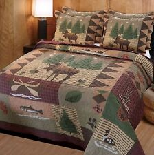 Queen Quilt Set Lodge Moose Loon Fish Cabin Coverlet