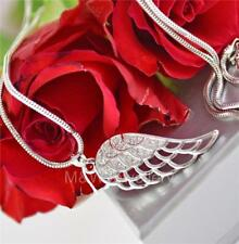 NECKLACE PENDANT ANGEL WING WHITE ZIRCONIA 925 STERLING SILVER RHODIUM PLATED