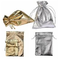 10Pcs Silver Gold Organza Bags Christmas Wedding Candy Jewelry Party Pouch