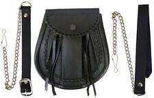 KILT escarcelle Jacobite délavé cuir noir à lacets bord highlandwear pour Kilts