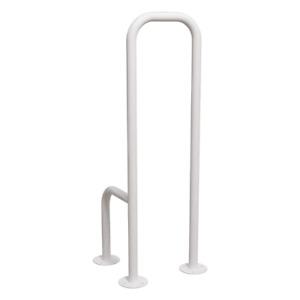 WC Stützgriff für barrierefreies Bad zur Bodenmontage rechts hoch weiß ⌀ 32mm
