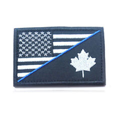USA FLAG & CANADA MAPLE LEAVES 3D TACTICAL MORALE BADGE U.S. ARMY HOOK PATCH /01