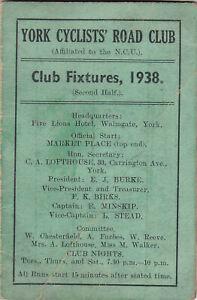YORK CYCLISTS' ROAD CLUB - FIXTURES, 1938