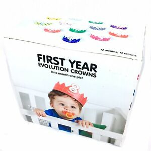 Doiy Baby First Year Milestones Photo Prop Crowns Unisex Monthly Pictures 12 Pc
