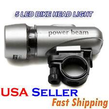 5 LED BIKE HEAD LIGHT WATERPROOF 2 LIGHTING MODES RELEASABLE BRACKET SILVER AD-4
