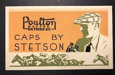 Stetson Caps Hat Horse Racing Art Deco Advertising Blotter Mini Sign C 1930