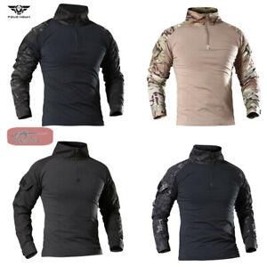 Mens Tactical T-Shirt Army Shirt Military Airsoft Combat Long Sleeve Casual Camo