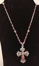 Lot of 15 EXPRESS Pewter Toned Cross Necklace with Angel Images & Pink Beads