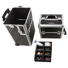 Kosmetikkoffer schwarz silber Trolley Pilotenkoffer BeautyCase Friseurkoffer
