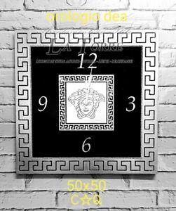 Orologio quadrato da parete Barocco moderno nero e argento Dea 50 cm