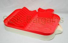 NUOVO Plastica DISH DRAINER Rack Utensil CUTLERY lavello gocciolatoio DESIGN ROSSO