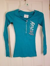 AEROPOSTALE STRETCH Women Top Pullover XS Cotton Blend Turquoise Long Sleeve