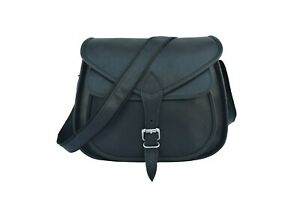 Black Leather Women Messenger Bag Purse Satchel Handbags Crossbody Sling 13 In
