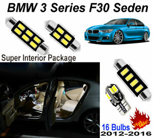 16pcs Xenon White LED Interior Light Package Kit For BMW 3 Series F30 Sedan