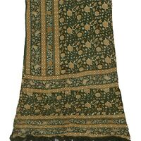 Tcw Vintage Dupatta Long Stole Crepe Silk Green Shawl Hand Embroidered Scarves V
