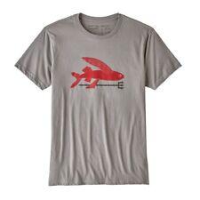Patagonia Men Grey Tee Red Flying Fish Organic Cotton Slim Fit XL/ L / S - New