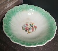 Vintage Serving Bowl Bird of Paradise Roses Flowers Scallop Shell Green Edges
