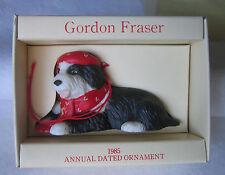 Schmid Gordon Fraser 1985 Annual Dated Ceramic Dog Ornament Black / White Boxed