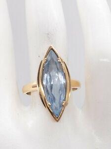 Antique 1940s RETRO $2400 6ct Natural Marquis Aquamarine 10k Yellow Gold Ring